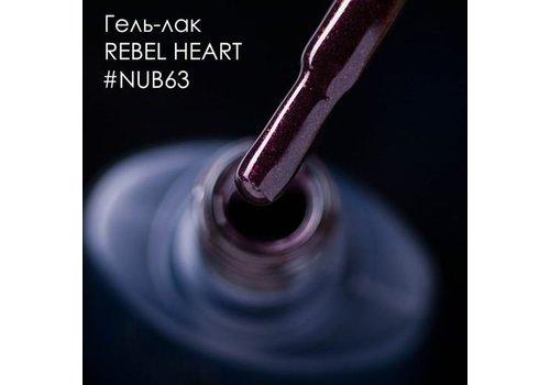 Гель-лак NUB № 063 Rebel Heart темный бордово-вишневый с мелким Шимер 8 мл