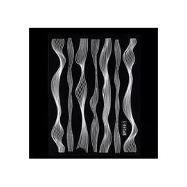 Наклейка гибкая лента волна, белая серебро
