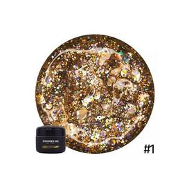 Гель для дизайна NUB Shimmer Gel 01 золотые голографические блестки 5 г