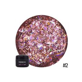 Гель для дизайна NUB Shimmer Gel 02 розовые голографические блестки 5 г