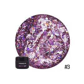 Гель для дизайна NUB Shimmer Gel 03 фиолетовые голографические блестки 5 г