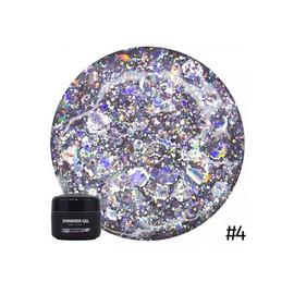 Гель для дизайна NUB Shimmer Gel 04 серебряные голографические блестки 5 г