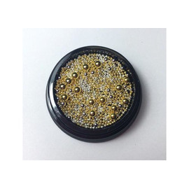 Бульонки для ногтей металлические mix размер золото серебро