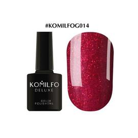 Гель-лак Komilfo DeLuxe Series №G014 темно-красный с насыщенными мелкими блестками 8 мл