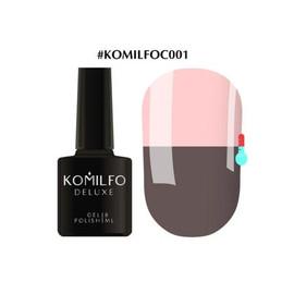 Гель-лак Komilfo DeLuxe Termo №C001 темно-серый при нагревании  приглушенный розовый 8 мл