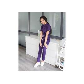 Комбинезон для мастера фиолетовый с белой строчкой р 42-54