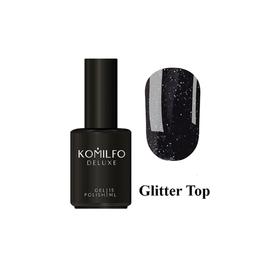 Закрепитель для гель-лака Komilfo Glitter Top с мелким шиммером без ЛС 15 мл