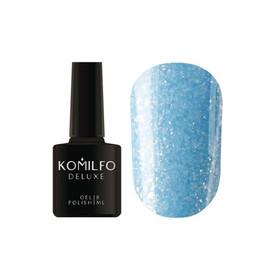 Гель лак Komilfo Spring Jazz SJ007 светло-голубой с золотыми блестками 8 мл