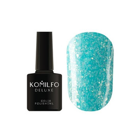 Гель лак Komilfo Spring Jazz SJ008 яркий голубой с золотыми блестками 8 мл
